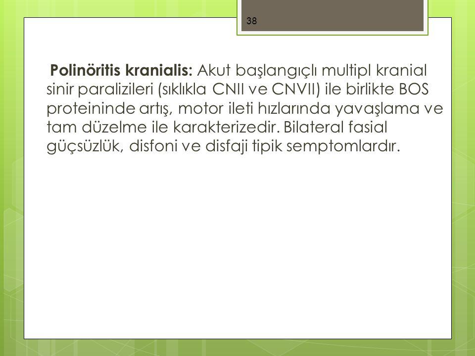 Polinöritis kranialis: Akut başlangıçlı multipl kranial sinir paralizileri (sıklıkla CNII ve CNVII) ile birlikte BOS proteininde artış, motor ileti hızlarında yavaşlama ve tam düzelme ile karakterizedir.