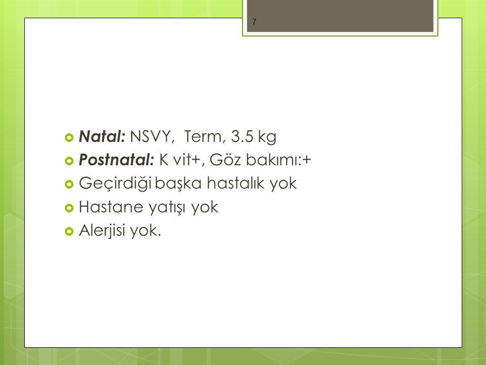 Natal: NSVY, Term, 3.5 kg Postnatal: K vit+, Göz bakımı:+ Geçirdiği başka hastalık yok. Hastane yatışı yok.