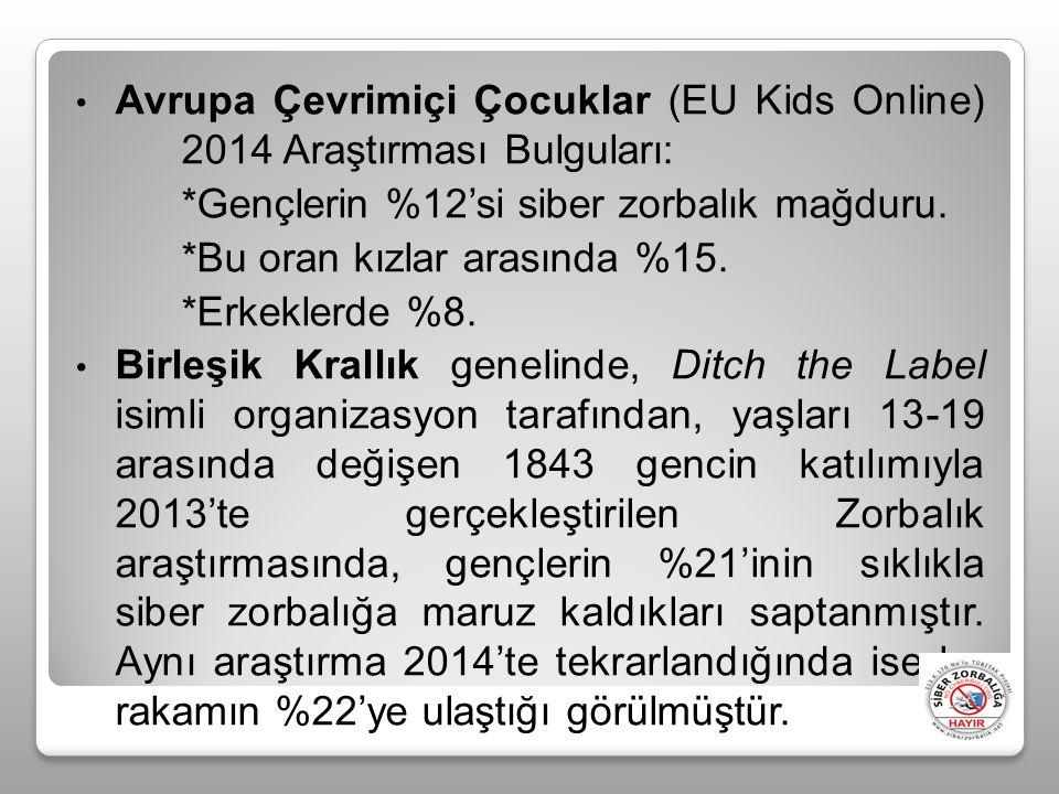 Avrupa Çevrimiçi Çocuklar (EU Kids Online) 2014 Araştırması Bulguları: