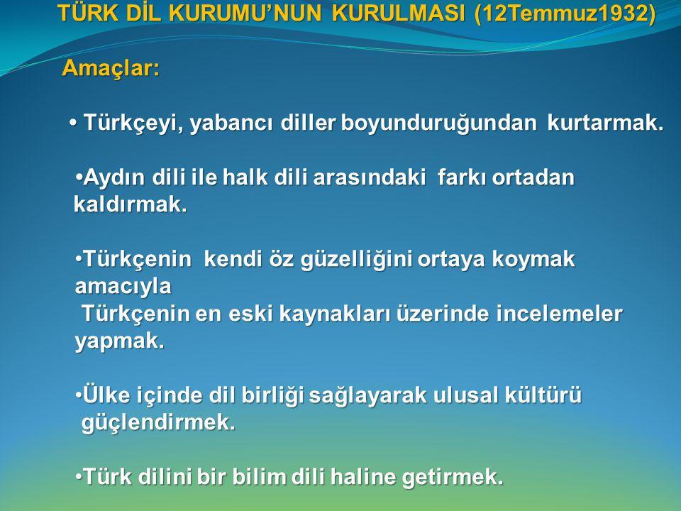 TÜRK DİL KURUMU'NUN KURULMASI (12Temmuz1932)