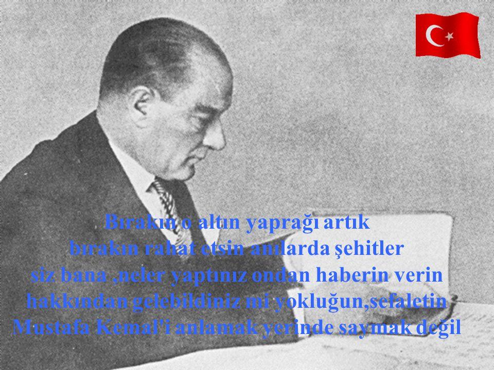 Bırakın o altın yaprağı artık bırakın rahat etsin anılarda şehitler siz bana ,neler yaptınız ondan haberin verin hakkından gelebildiniz mi yokluğun,sefaletin Mustafa Kemal i anlamak yerinde saymak değil
