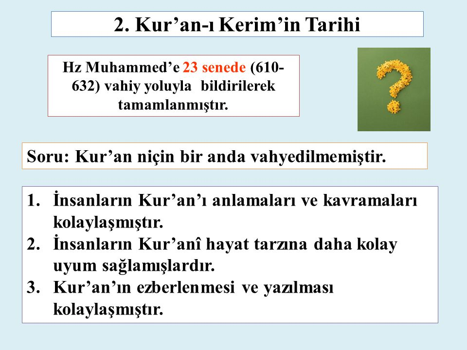 2. Kur'an-ı Kerim'in Tarihi