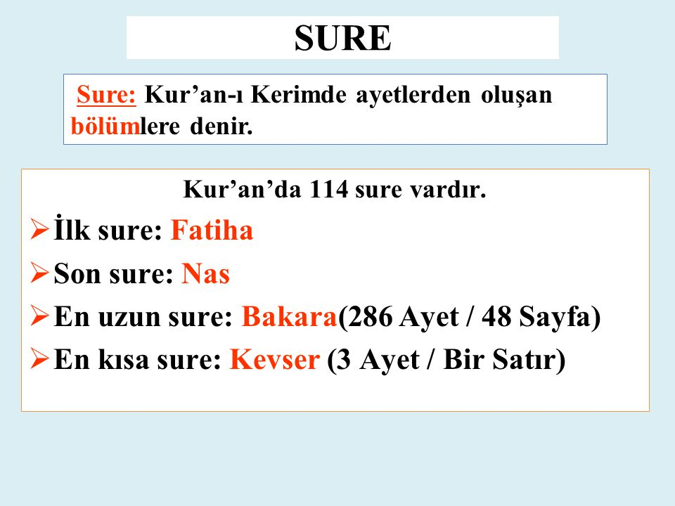 SURE İlk sure: Fatiha Son sure: Nas