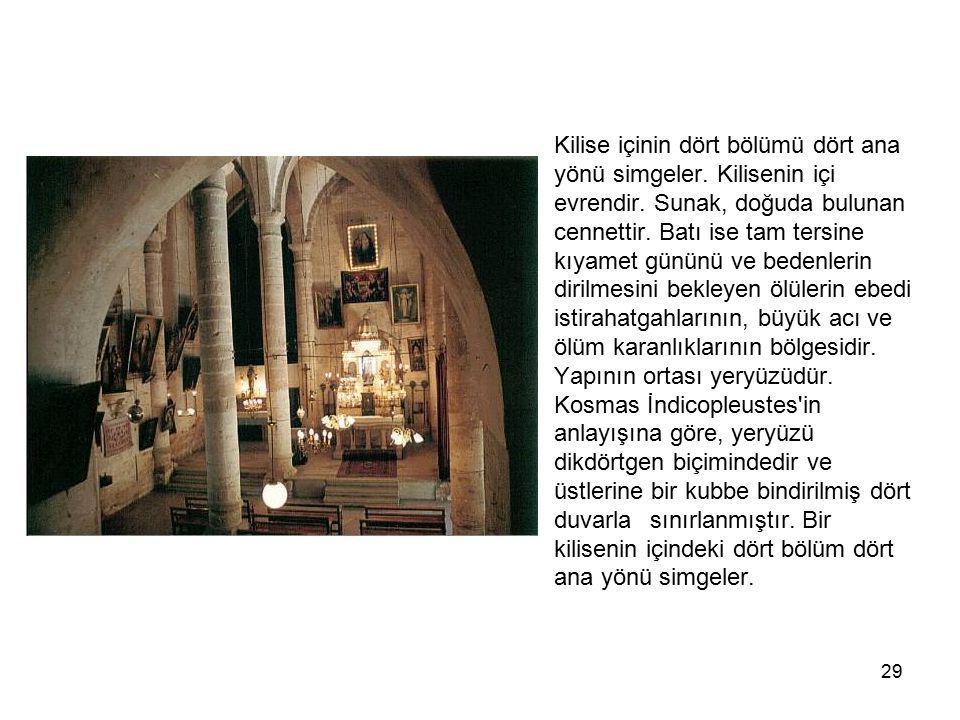 Kilise içinin dört bölümü dört ana. yönü simgeler. Kilisenin içi