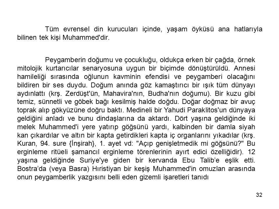 Tüm evrensel din kurucuları içinde, yaşam öyküsü ana hatlarıyla bilinen tek kişi Muhammed dir.