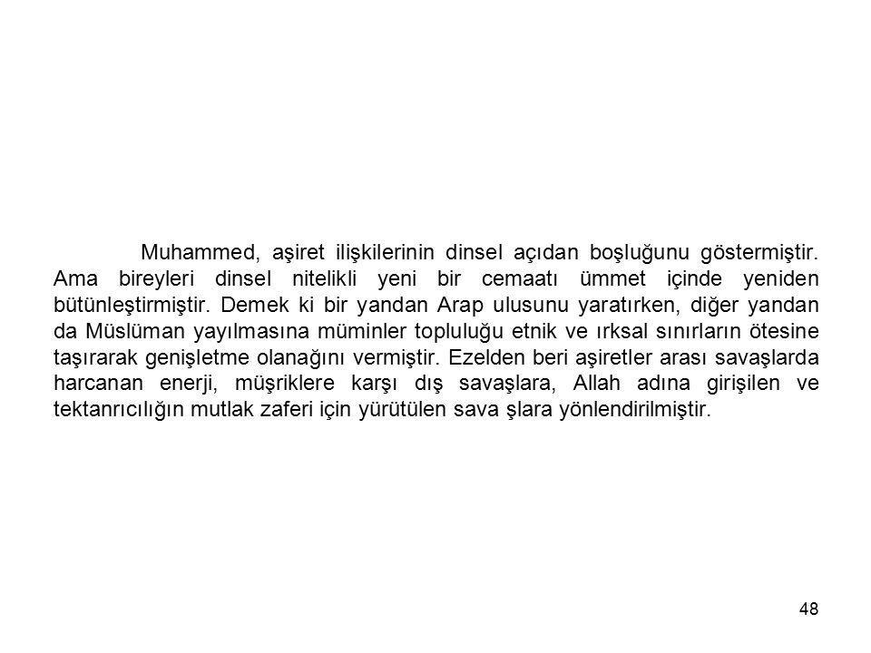 Muhammed, aşiret ilişkilerinin dinsel açıdan boşluğunu göstermiştir