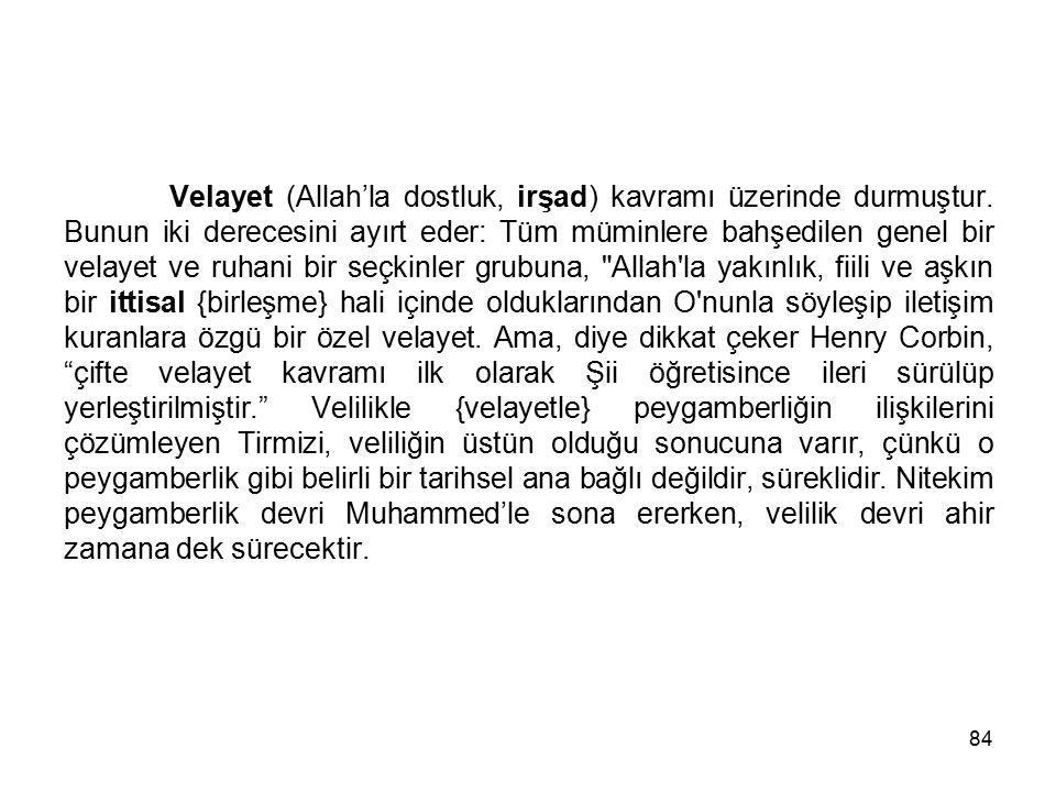 Velayet (Allah'la dostluk, irşad) kavramı üzerinde durmuştur