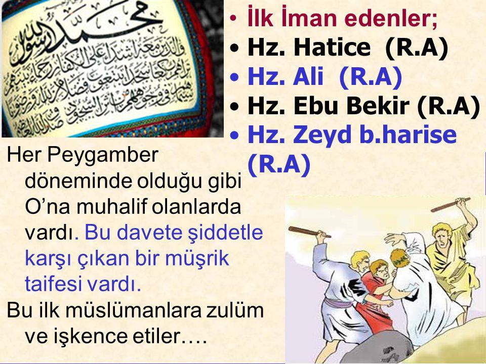 İlk İman edenler; Hz. Hatice (R.A) Hz. Ali (R.A) Hz. Ebu Bekir (R.A)