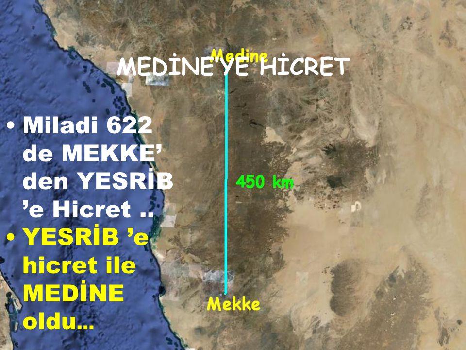 Miladi 622 de MEKKE' den YESRİB 'e Hicret ..