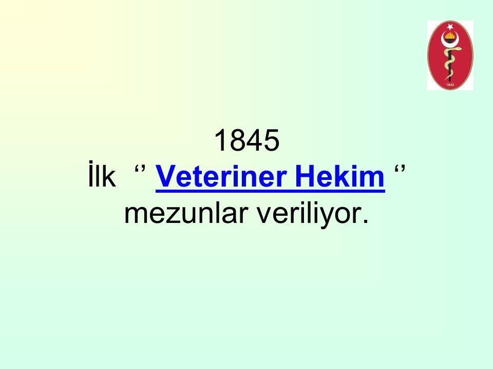 1845 İlk '' Veteriner Hekim '' mezunlar veriliyor.