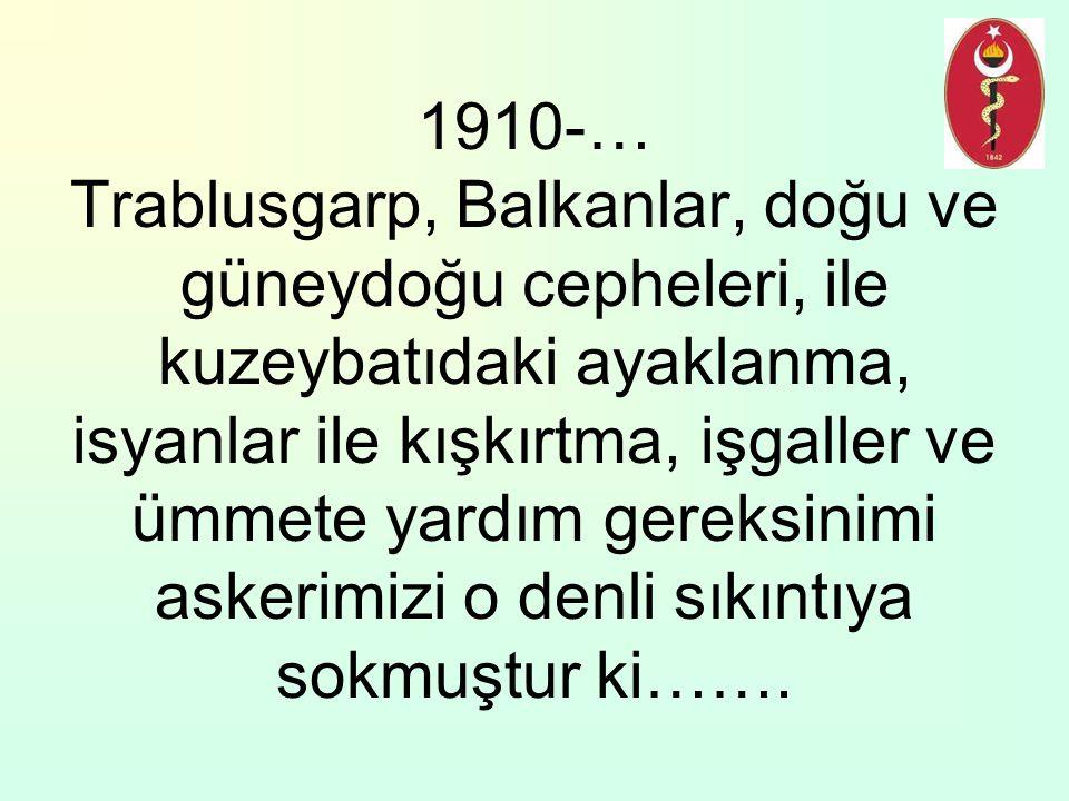 1910-… Trablusgarp, Balkanlar, doğu ve güneydoğu cepheleri, ile kuzeybatıdaki ayaklanma, isyanlar ile kışkırtma, işgaller ve ümmete yardım gereksinimi askerimizi o denli sıkıntıya sokmuştur ki…….