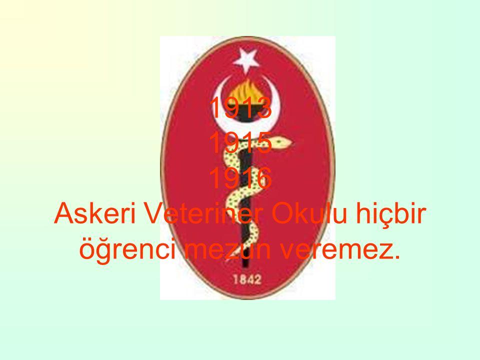 1913 1915 1916 Askeri Veteriner Okulu hiçbir öğrenci mezun veremez.