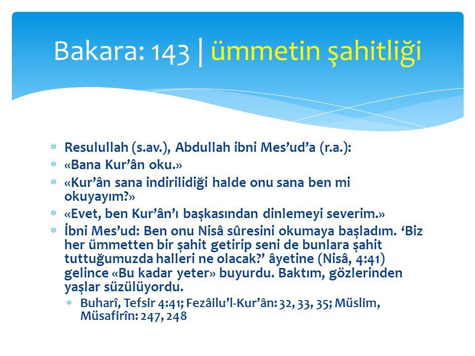 Bakara: 143 | ümmetin şahitliği