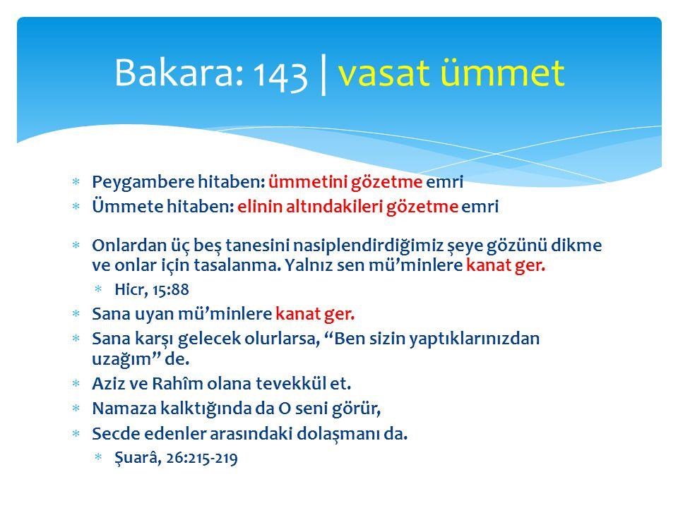 Bakara: 143 | vasat ümmet Peygambere hitaben: ümmetini gözetme emri