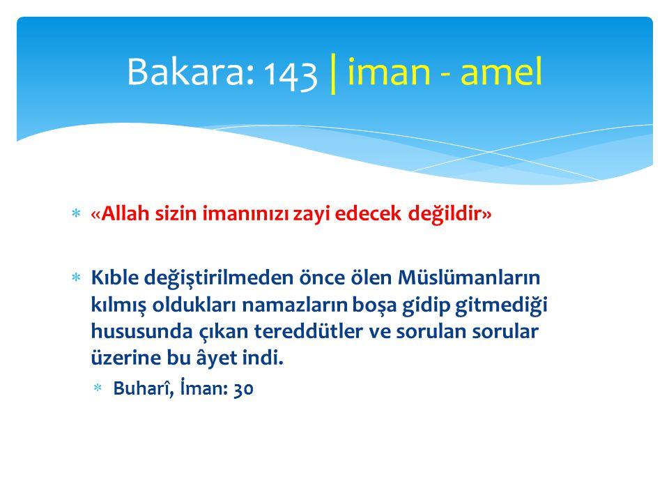 Bakara: 143 | iman - amel «Allah sizin imanınızı zayi edecek değildir»