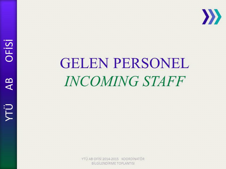 GELEN PERSONEL INCOMING STAFF