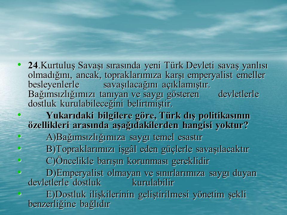 24.Kurtuluş Savaşı sırasında yeni Türk Devleti savaş yanlısı olmadığını, ancak, topraklarımıza karşı emperyalist emeller besleyenlerle savaşılacağını açıklamıştır. Bağımsızlığımızı tanıyan ve saygı gösteren devletlerle dostluk kurulabileceğini belirtmiştir.