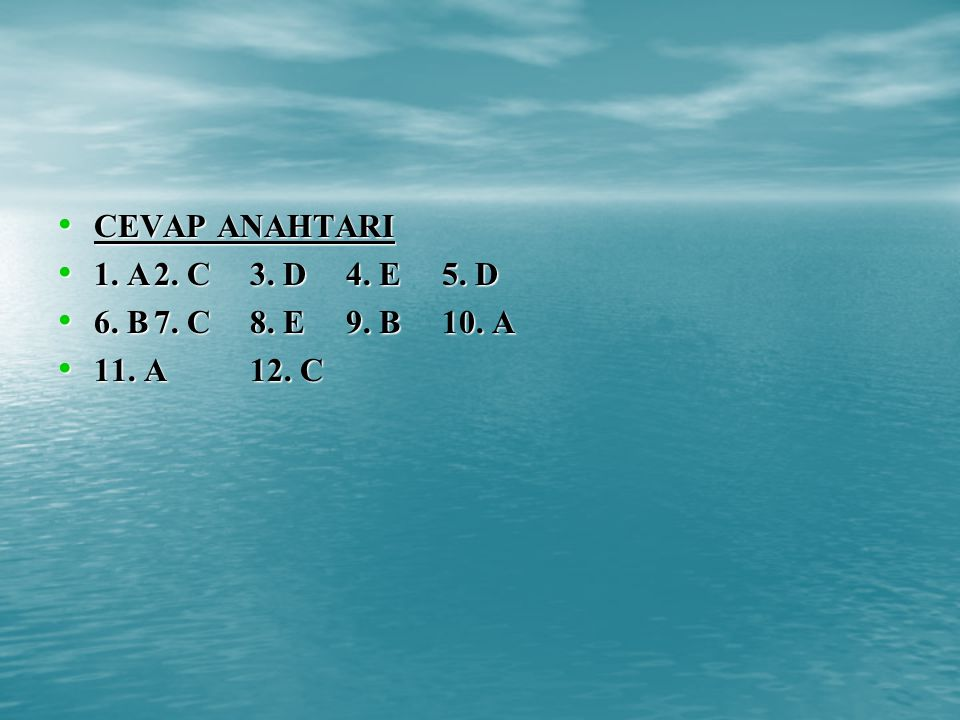 CEVAP ANAHTARI 1. A 2. C 3. D 4. E 5. D 6. B 7. C 8. E 9. B 10. A 11. A 12. C