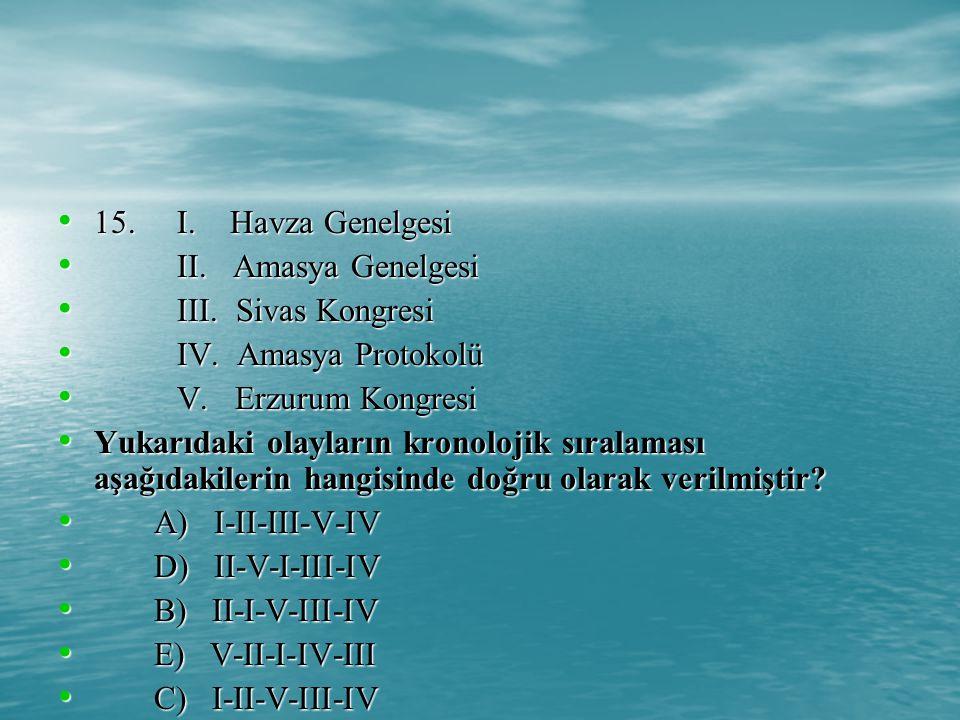 15. I. Havza Genelgesi II. Amasya Genelgesi. III. Sivas Kongresi. IV. Amasya Protokolü.