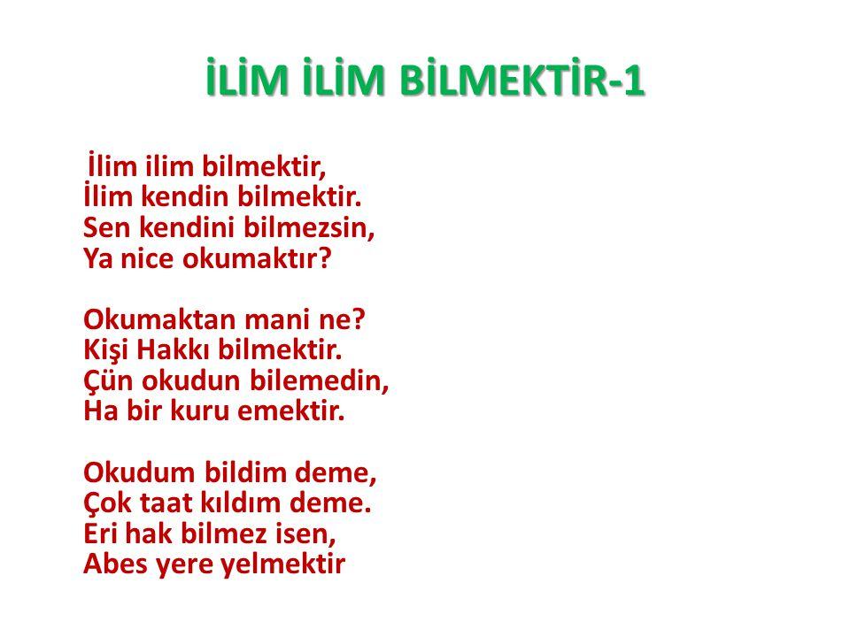 İLİM İLİM BİLMEKTİR-1