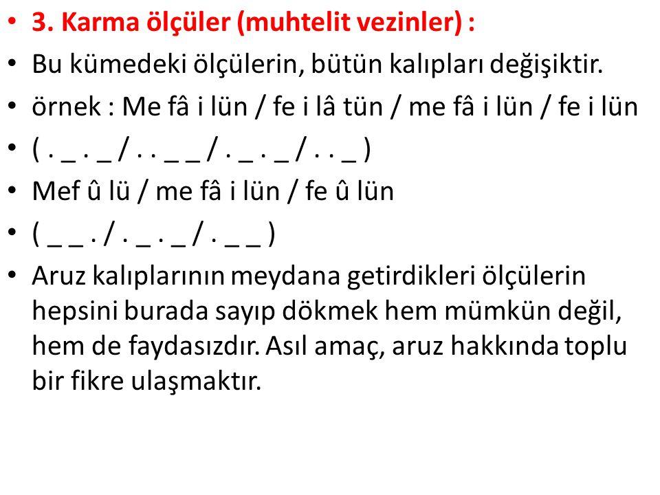 3. Karma ölçüler (muhtelit vezinler) :