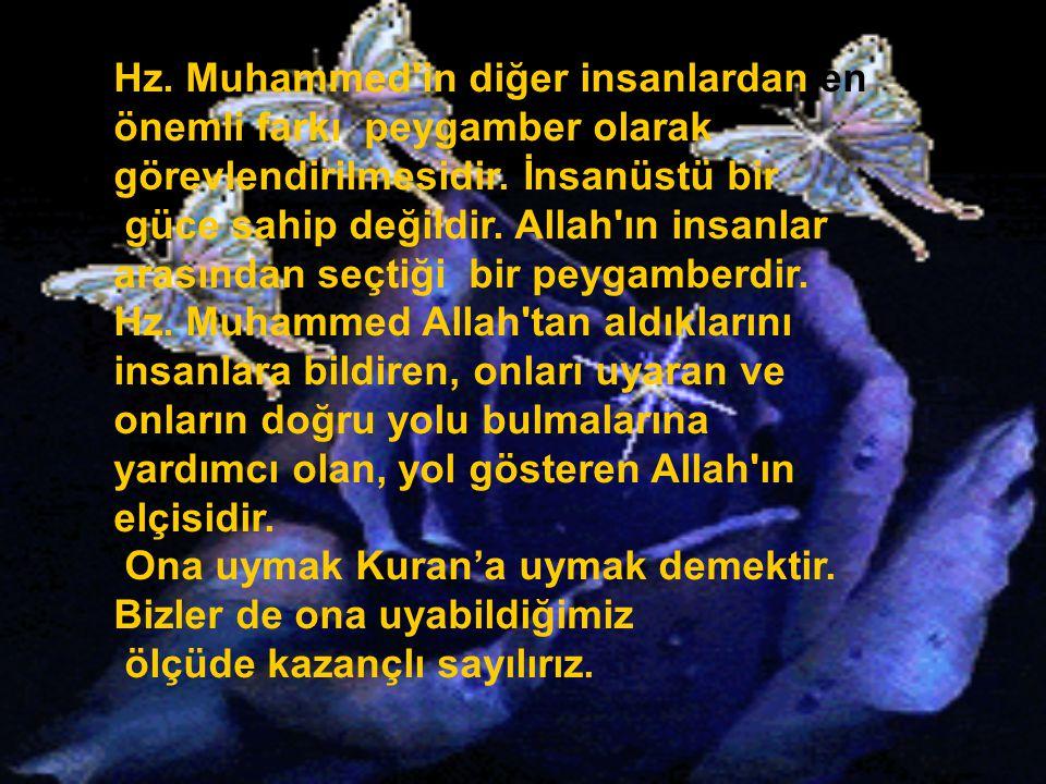 Hz. Muhammed in diğer insanlardan en önemli farkı peygamber olarak görevlendirilmesidir. İnsanüstü bir