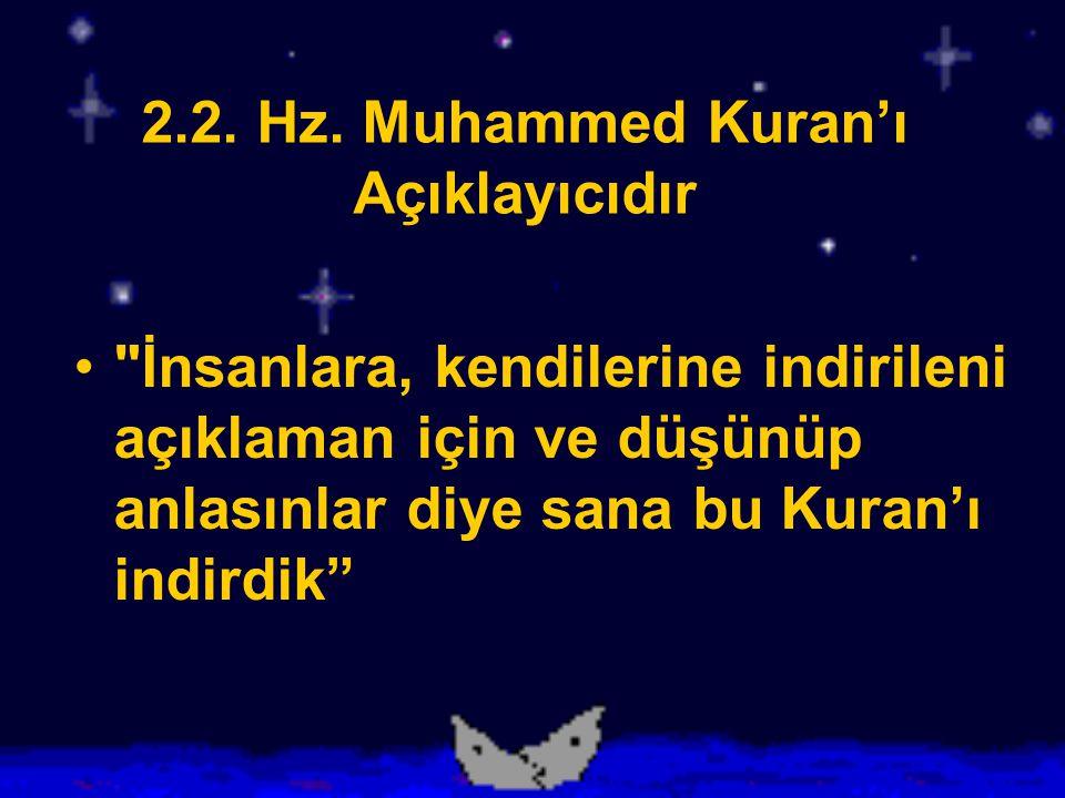 2.2. Hz. Muhammed Kuran'ı Açıklayıcıdır