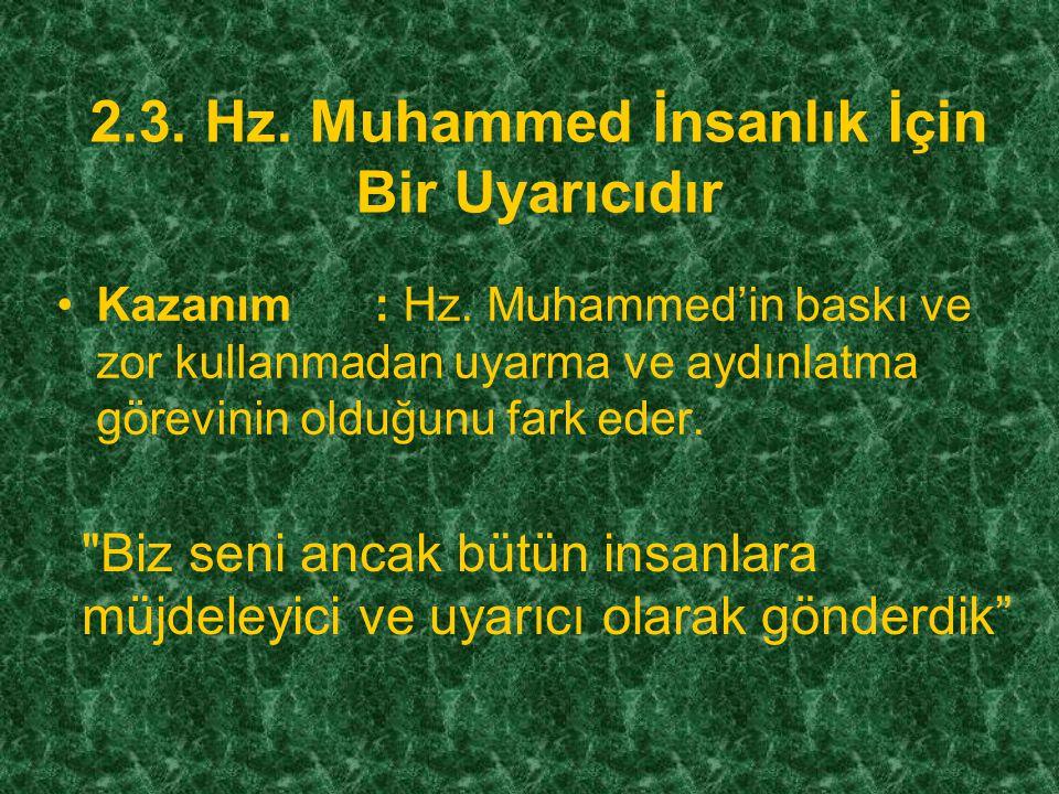 2.3. Hz. Muhammed İnsanlık İçin Bir Uyarıcıdır