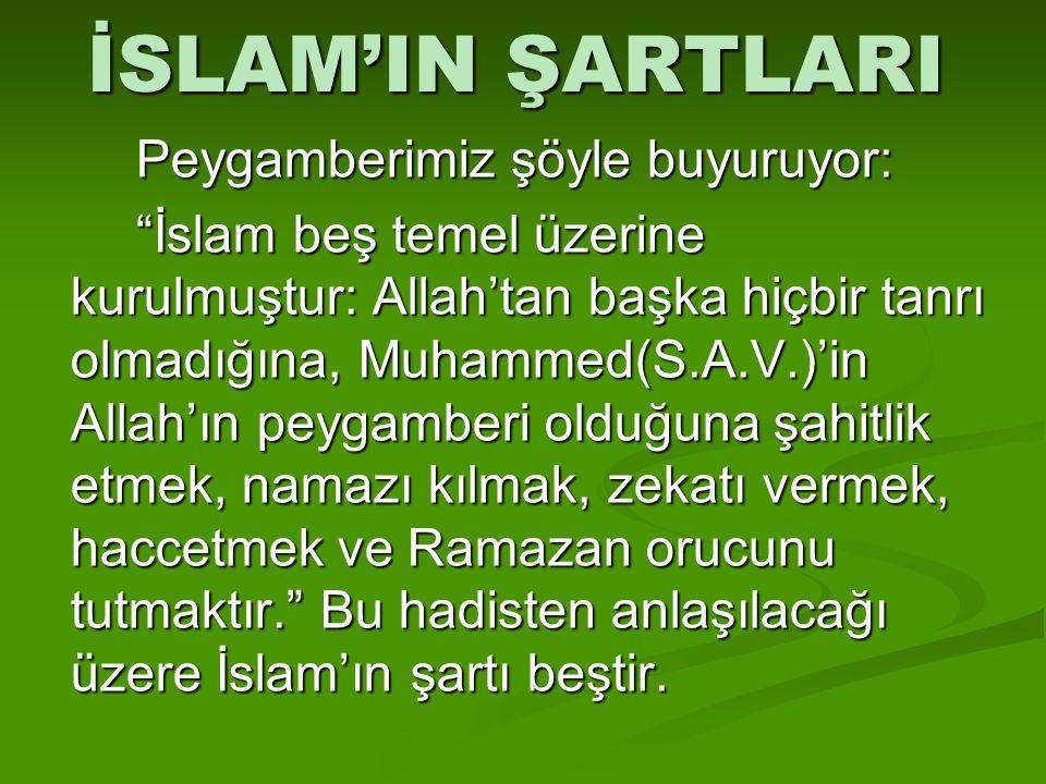 İSLAM'IN ŞARTLARI Peygamberimiz şöyle buyuruyor: