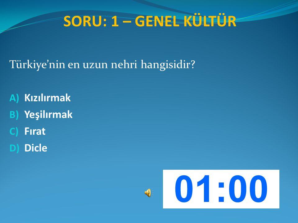 SORU: 1 – GENEL KÜLTÜR Türkiye'nin en uzun nehri hangisidir