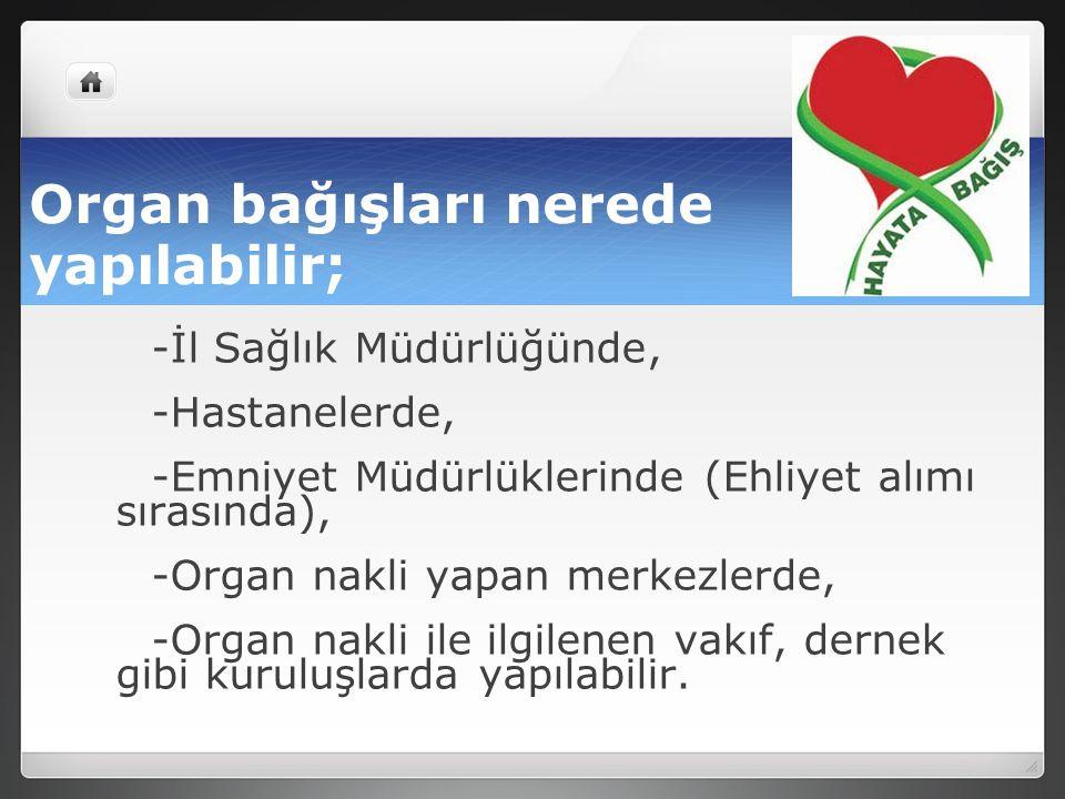 Organ bağışları nerede yapılabilir;