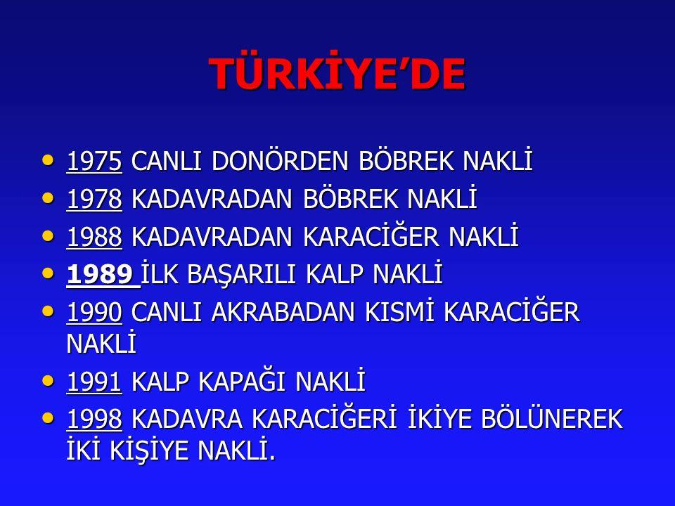 TÜRKİYE'DE 1975 CANLI DONÖRDEN BÖBREK NAKLİ