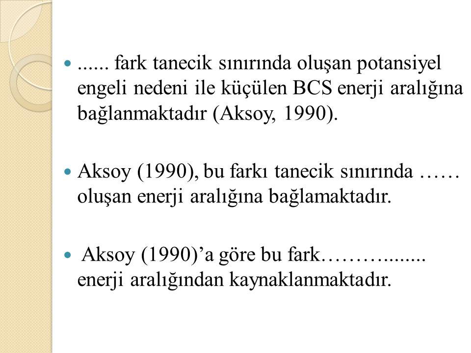 ...... fark tanecik sınırında oluşan potansiyel engeli nedeni ile küçülen BCS enerji aralığına bağlanmaktadır (Aksoy, 1990).