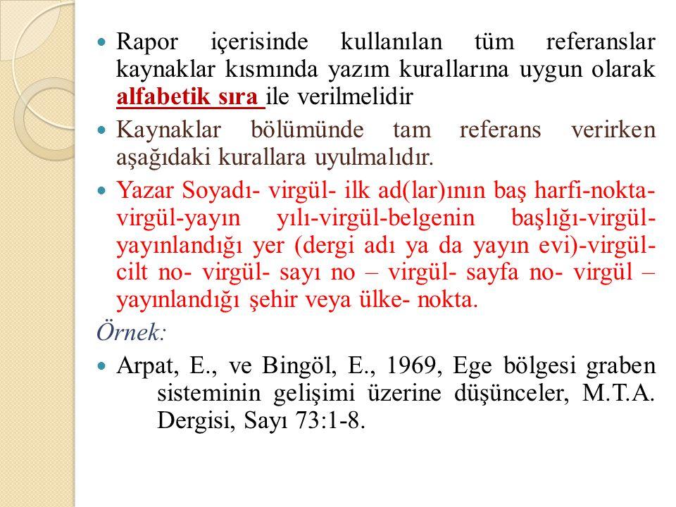 Rapor içerisinde kullanılan tüm referanslar kaynaklar kısmında yazım kurallarına uygun olarak alfabetik sıra ile verilmelidir