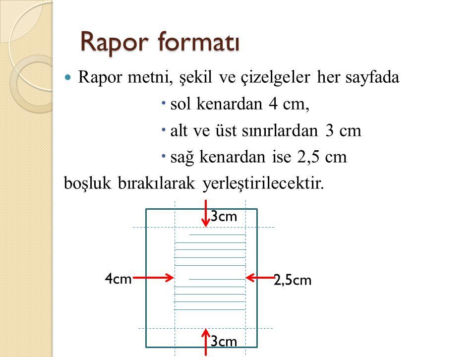Rapor formatı Rapor metni, şekil ve çizelgeler her sayfada