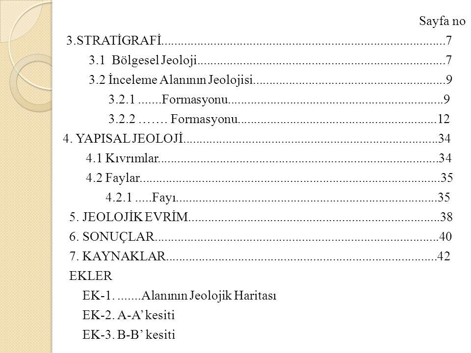 Sayfa no 3. STRATİGRAFİ. 7 3. 1 Bölgesel Jeoloji. 7 3