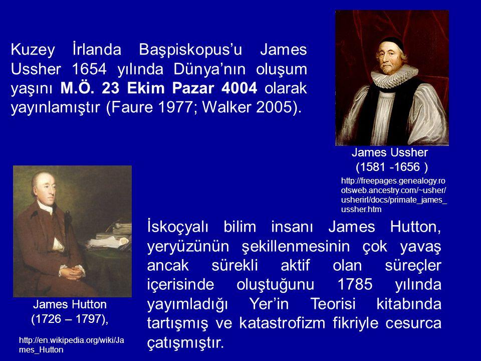 Kuzey İrlanda Başpiskopus'u James Ussher 1654 yılında Dünya'nın oluşum yaşını M.Ö. 23 Ekim Pazar 4004 olarak yayınlamıştır (Faure 1977; Walker 2005).