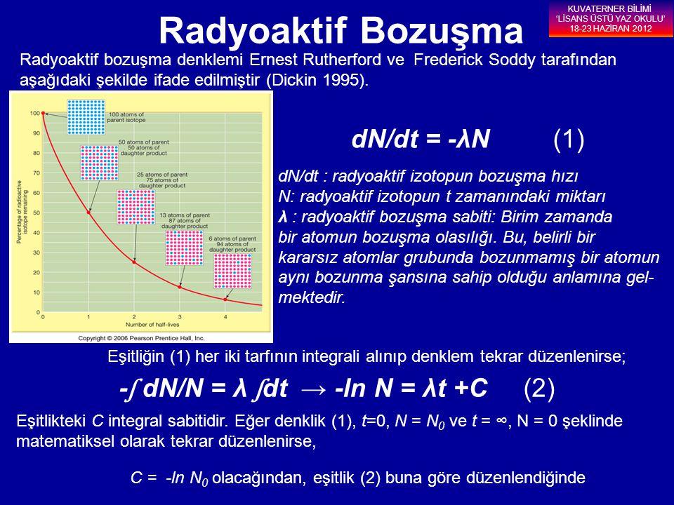 Radyoaktif Bozuşma dN/dt = -λN (1) -ʃ dN/N = λ ʃdt → -ln N = λt +C (2)