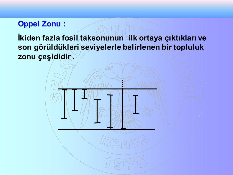 Oppel Zonu : İkiden fazla fosil taksonunun ilk ortaya çıktıkları ve son görüldükleri seviyelerle belirlenen bir topluluk zonu çeşididir .