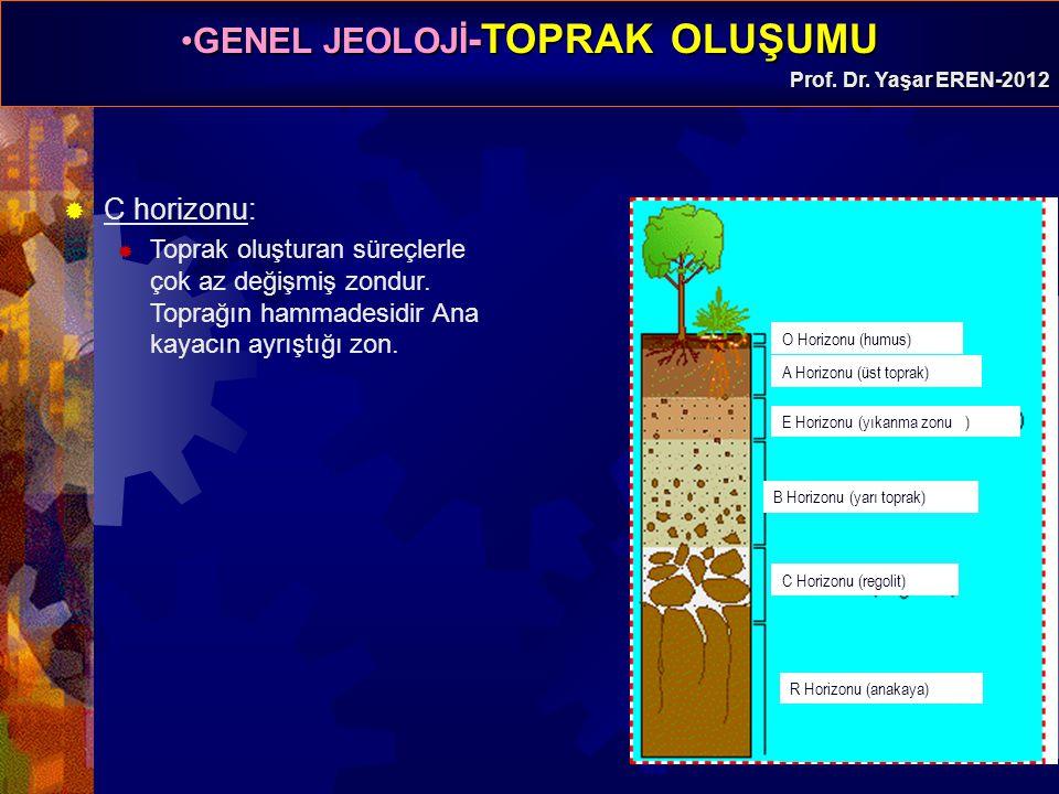 C horizonu: Toprak oluşturan süreçlerle çok az değişmiş zondur. Toprağın hammadesidir Ana kayacın ayrıştığı zon.