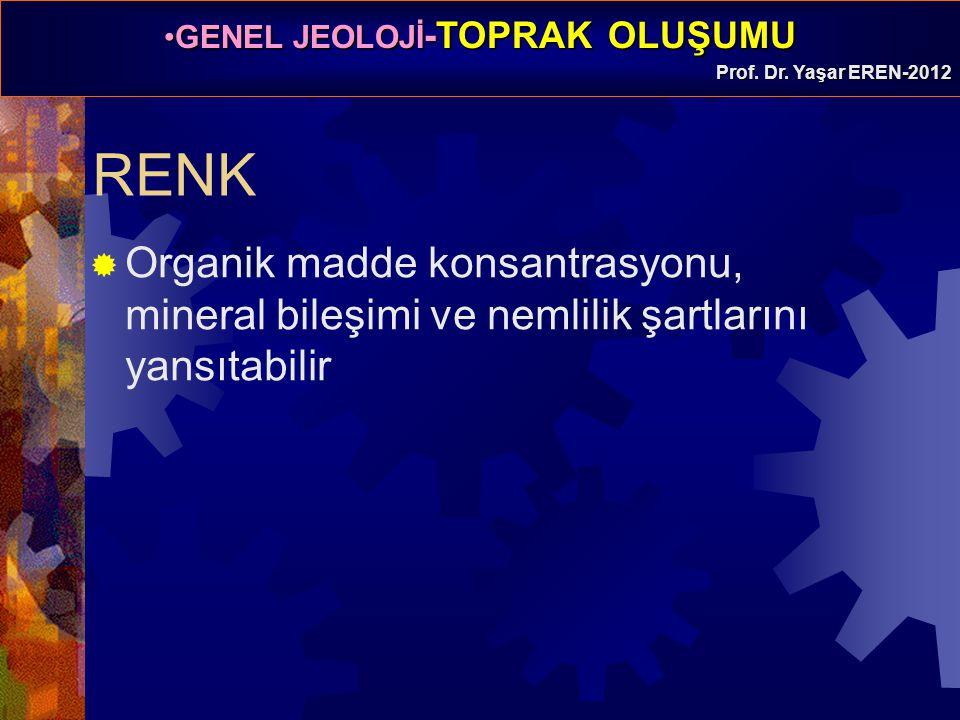 RENK Organik madde konsantrasyonu, mineral bileşimi ve nemlilik şartlarını yansıtabilir