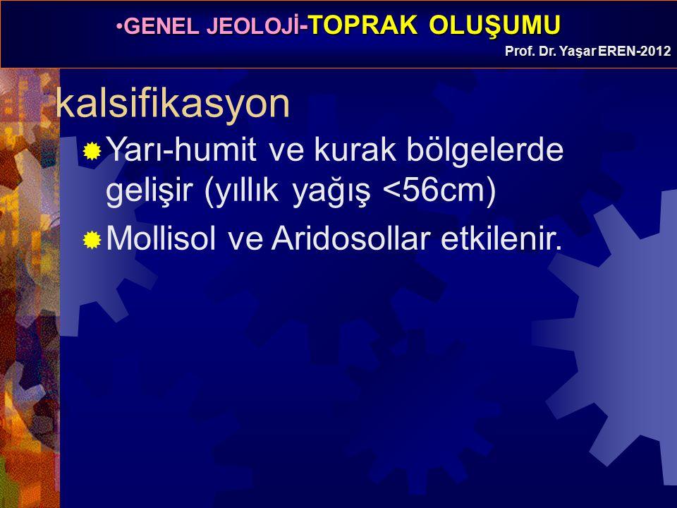 kalsifikasyon Yarı-humit ve kurak bölgelerde gelişir (yıllık yağış <56cm) Mollisol ve Aridosollar etkilenir.