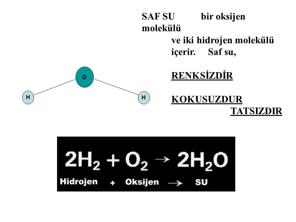 SAF SU bir oksijen molekülü ve iki hidrojen molekülü içerir. Saf su,