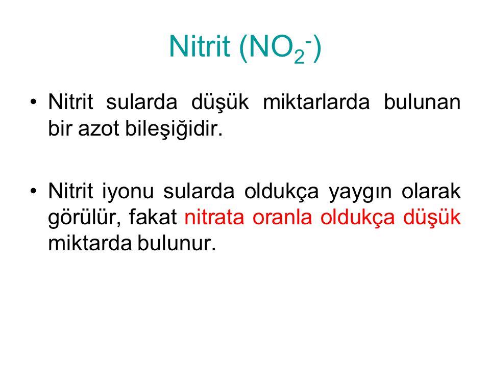 Nitrit (NO2-) Nitrit sularda düşük miktarlarda bulunan bir azot bileşiğidir.