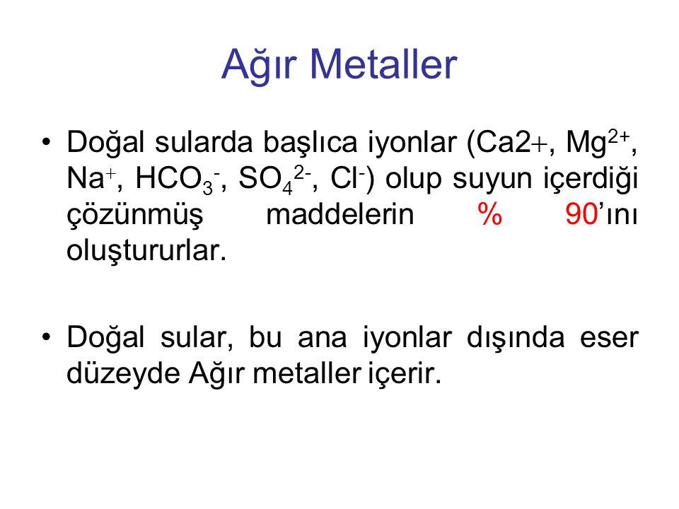 Ağır Metaller Doğal sularda başlıca iyonlar (Ca2, Mg2+, Na, HCO3-, SO42-, Cl-) olup suyun içerdiği çözünmüş maddelerin % 90'ını oluştururlar.