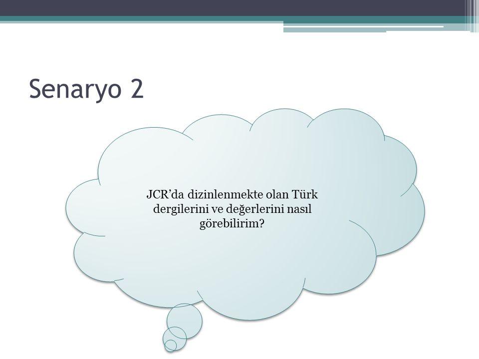 Senaryo 2 JCR'da dizinlenmekte olan Türk dergilerini ve değerlerini nasıl görebilirim