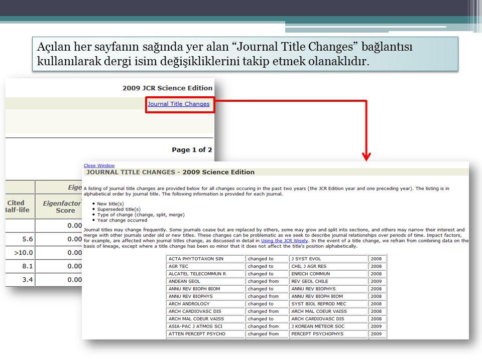 Açılan her sayfanın sağında yer alan Journal Title Changes bağlantısı kullanılarak dergi isim değişikliklerini takip etmek olanaklıdır.