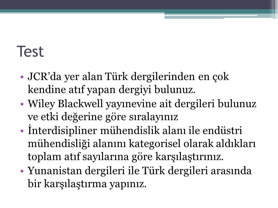Test JCR'da yer alan Türk dergilerinden en çok kendine atıf yapan dergiyi bulunuz.