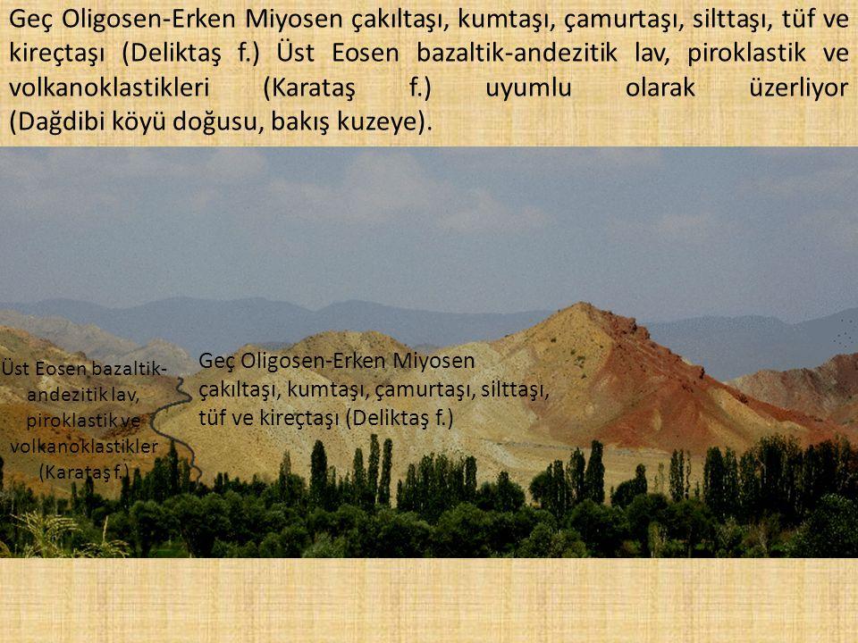 andezitik lav, piroklastik ve volkanoklastikler (Karataş f.)