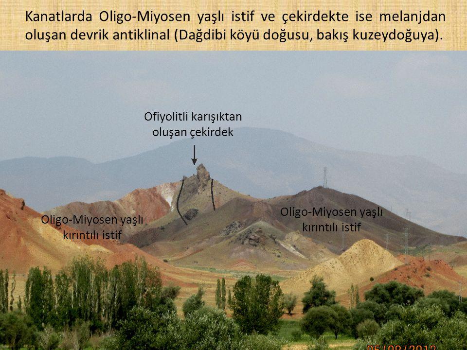 Kanatlarda Oligo-Miyosen yaşlı istif ve çekirdekte ise melanjdan oluşan devrik antiklinal (Dağdibi köyü doğusu, bakış kuzeydoğuya).